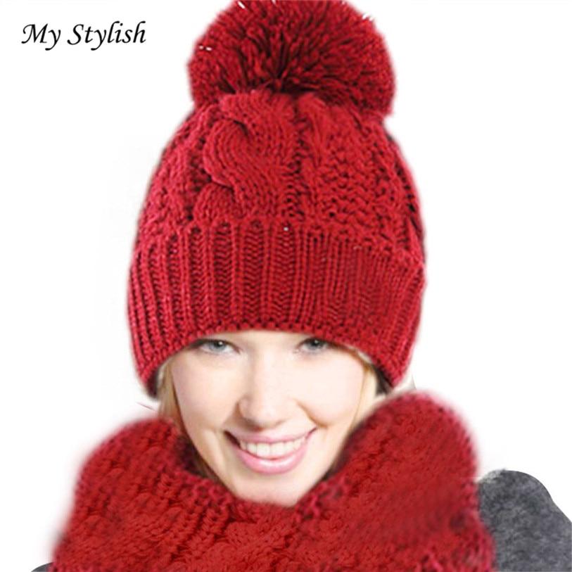 Marca caliente 1 Unidades nuevas mujeres de invierno cálido de lana de  punto bufanda sombreros traje de alta calidad cómodo diciembre 27 310272612f9b