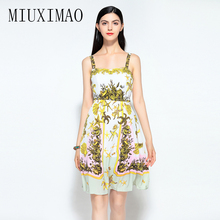 Europe Style 2018 Spring Newest Fashion A-Line Strapless Spaghetti Strap Animal Printed Casual Above Knee Mini Dress Women