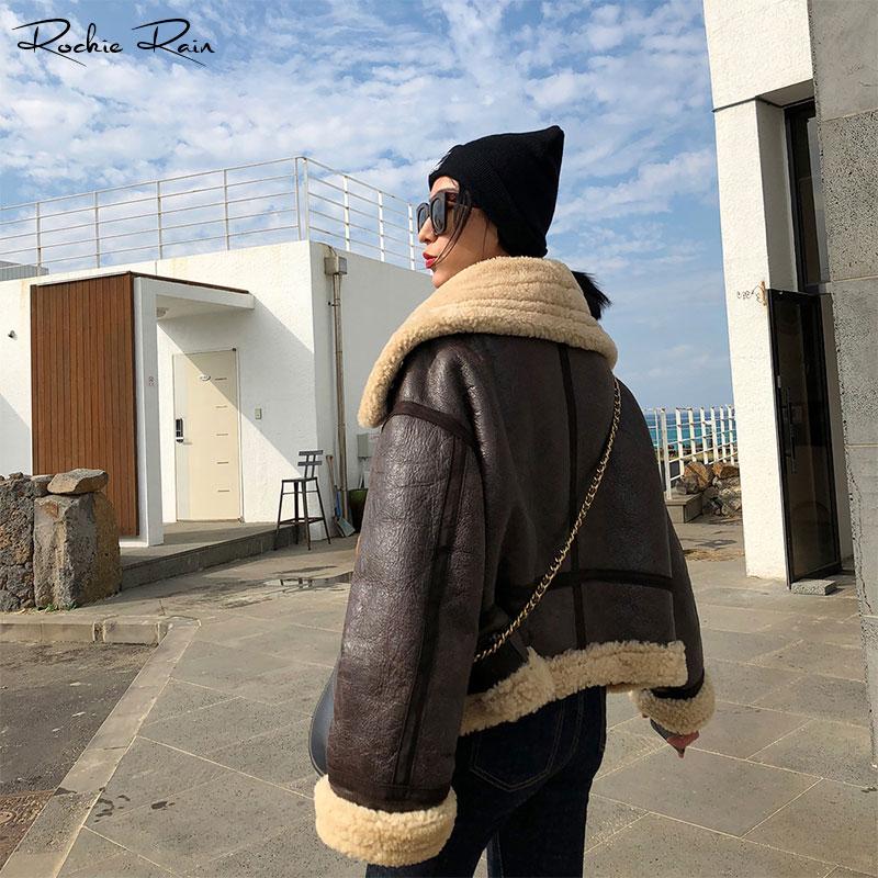 Dame Hiver Vestes Femmes Zippée Automne Peau Longues Green Survêtement Chaud Fourrure Cuir Mode Pardessus Manches brown En Mouton Réel Manteaux De BeWrodCx