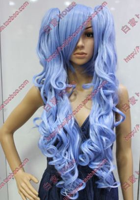 Free Shipping Cosplay Wig 100cm Blue Color Braid Curly Hair Japanese