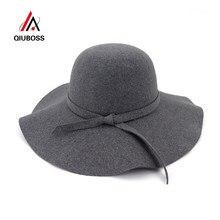 QIUBOSS Moda Feminina Lady Aba Larga Disquete Chapéus de Feltro De Lã Fedora  Do Vintage Feminino c83b83fb46e