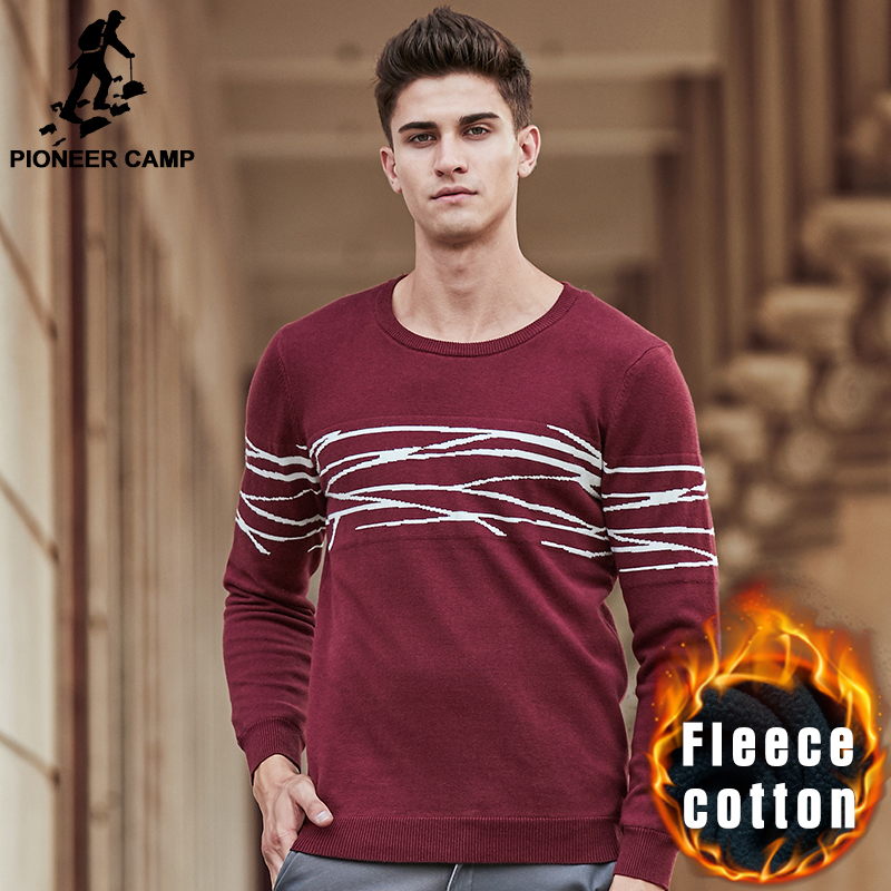 Pioneer Camp sweater men brand clothing top quality thick fleece warm pullover men casual fashion male red black sweaters 611217