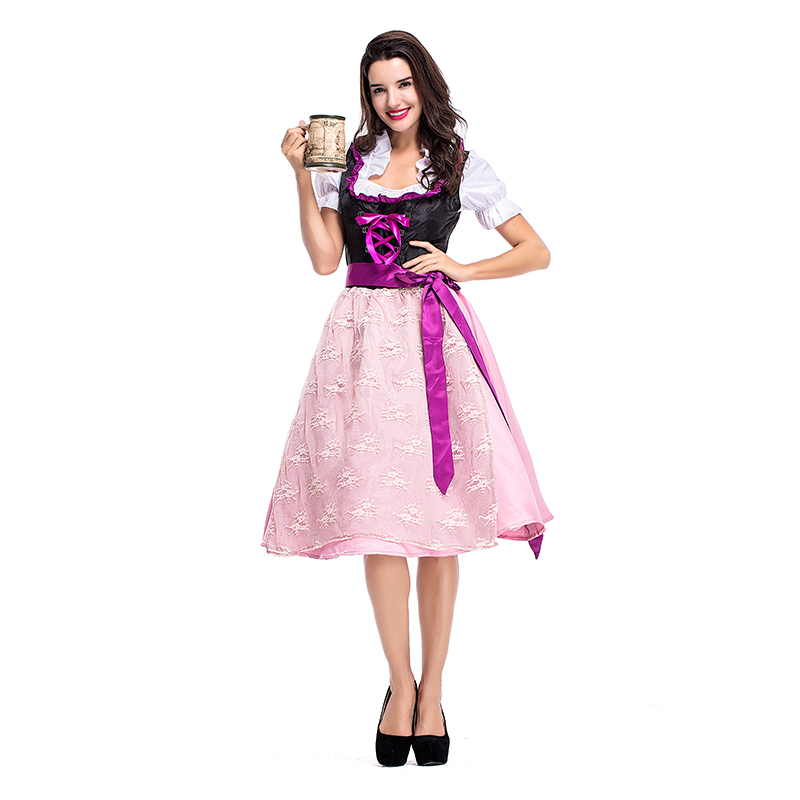 Costumes Adult Women Beer Festival Sweet Purple and Pink Princess Dresses Suit National Costumes Oktoberfest Event Costumes