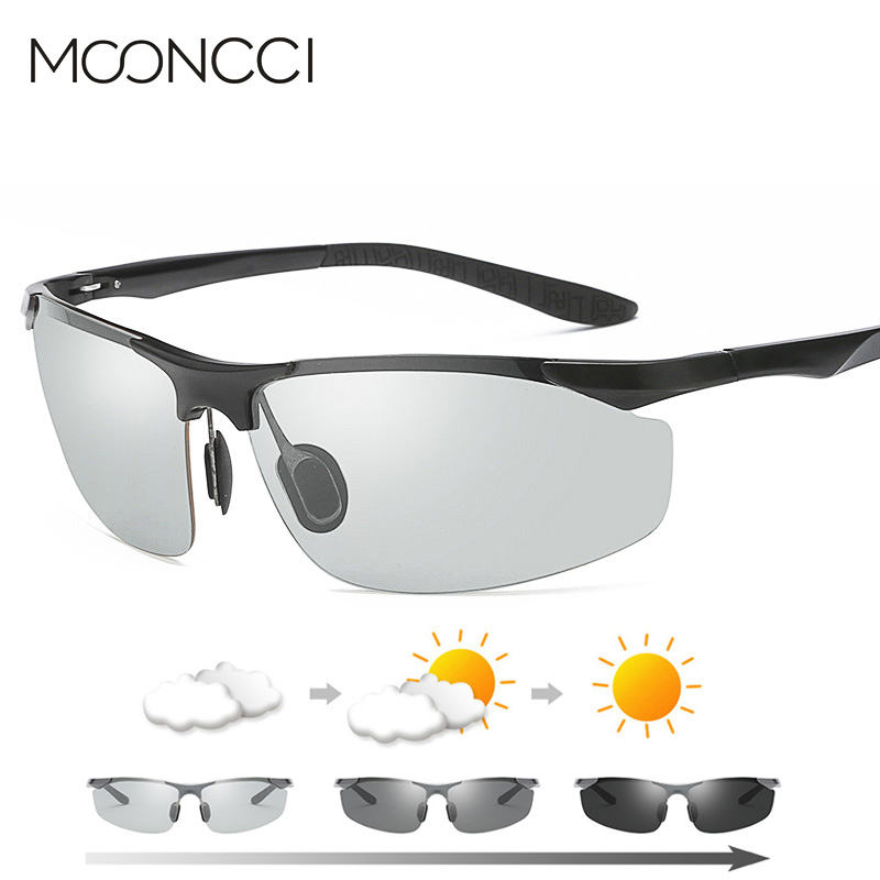 MOONCCI 2018 Photochromic Sunglasses Men Polarized Driving HD Chameleon Sun Glasses for Man Aluminum Anti-glare Goggles Eyewear