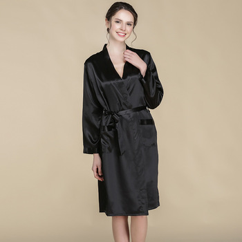 CEARPION Summer New Silk Women Robe Gown Solid Black Colors Sexy Kimono Bathrobe Female Casual Home Clothes Elegant Nightdress
