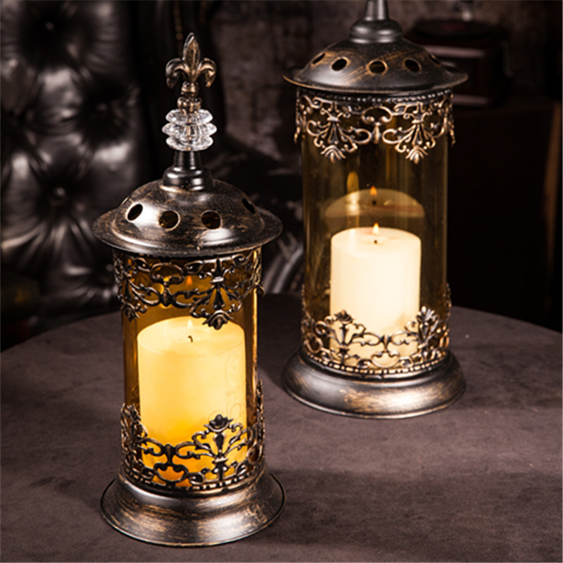 Iron Glass Candlestick With Flowers /table Furnishing Articles Home Decor Supply Iron Creative Storm Lantern Black Candlestick/home Decoration