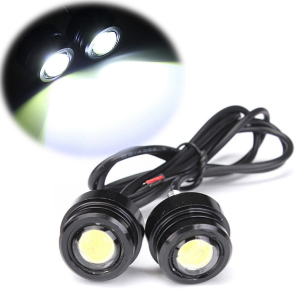 1 Pair 12V 3W 8000-8500K Bright LED Motorcycle Mirror Mount Light Daytime Running Fog Lamp