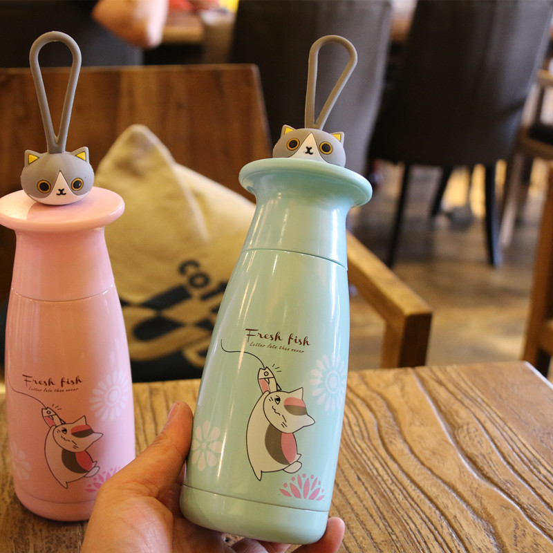 Cute Cartoon Cat Thermos Mugs Male and Female Student Sports Vacuum Flask With Rope Creative Stainless Steel Water Bottle in Vacuum Flasks Thermoses from Home Garden