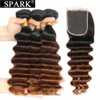 Spark Indian Loose Deep Wave Bundles With Closure Ombre Human Hair Bundles With Closure Remy Human Hair Extensions Medium Ratio - DISCOUNT ITEM  49% OFF All Category