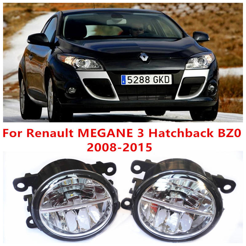 For Renault MEGANE 3 Hatchback BZ0  2008-2015 10W Fog Light LED DRL Daytime Running Lights Car Styling lamps led front fog lights for renault megane 3 hatchback bz0 2008 2015 car styling bumper high brightness drl driving fog lamps 1set