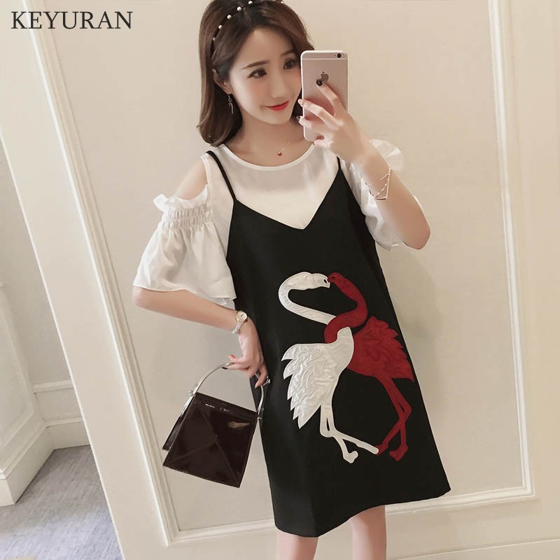 2018 Summer White Off Shoulder Tops and Black Flamingo Embroidered Strap Dress Set Maternity Clothes Dresses For Pregnant Women