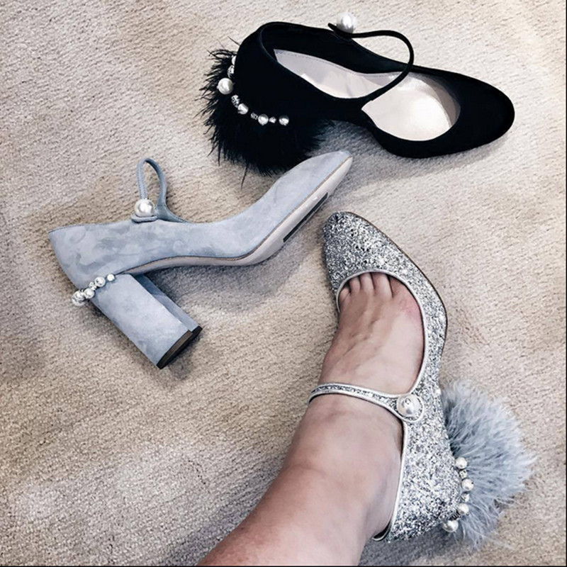 2017 New Feather Pumps Spring Summer Shoes Woman Bling Sequined Cloth Mary Janes Pumps Designer Women Shoes Party Dress Shoes