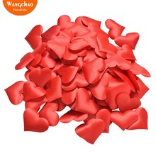 100Pcs 35mm Romantic DIY Fabric Heart Petals Wedding Confetti Table Bed Valentine Decoration