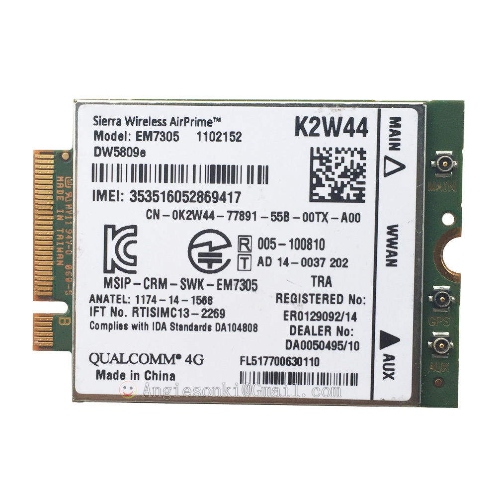 DW5809e K2W44 For Sierra Wireless Airprime EM7305 M.2 4G 100M LTE WWAN Card Module Dell E7450 E7250/7250 E5550/5550 E5450/5450