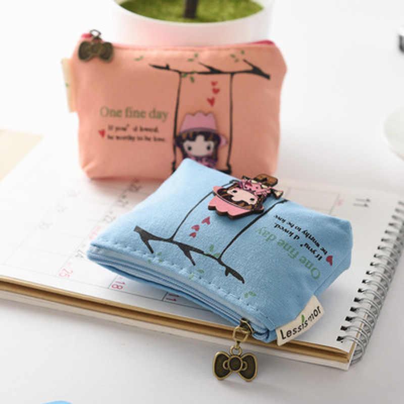 1 pcs bolsa Da Moeda da Lona Papelaria Kawaii Saco Bonito Da Menina Dos Desenhos Animados Fotos Bolsa de Lápis Caneta Caso Saco do Lápis Da Escola Do Escritório suprimentos