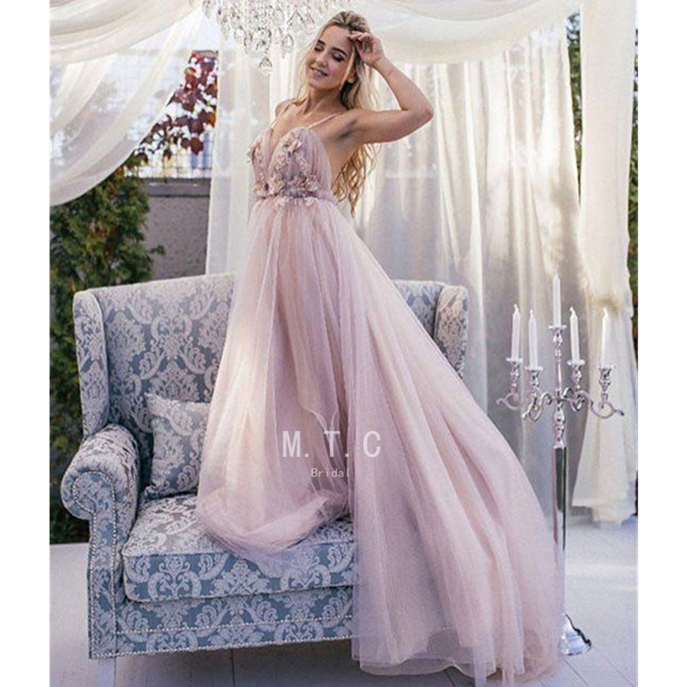 Backless Spaghetti Strap   Prom     Dresses   Sexy Flowers Pleat Tulle A Line Sweep Train Long Formal Evening Gowns 2019 Hot Selling