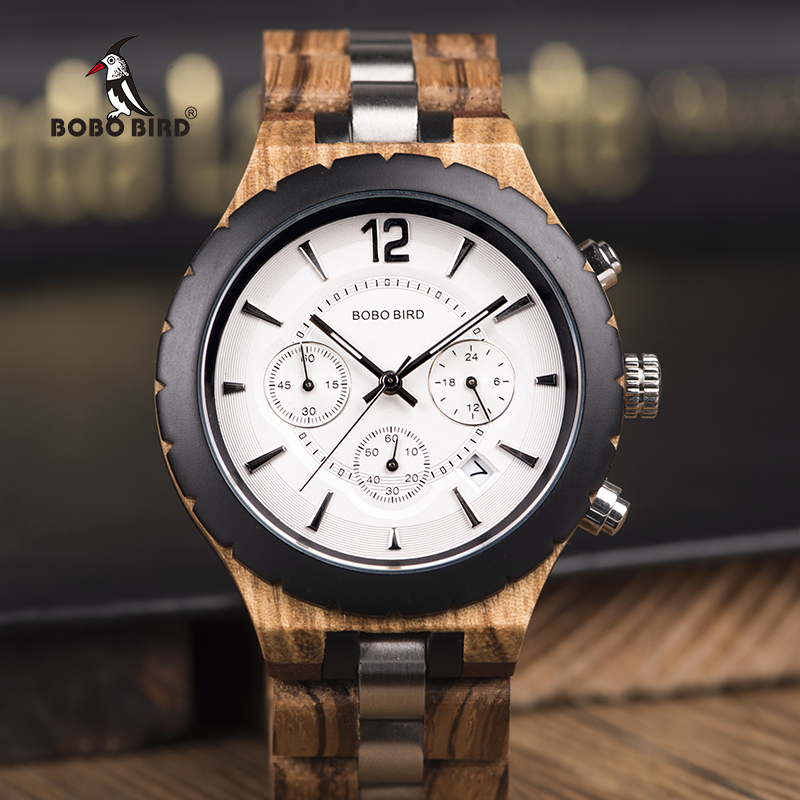 2019 Luxury Men Watch BOBO BIRD Wood Men's Watches Stopwatch Automatic Date Fashion Business Wooden Watch Customized Gift K-hR22(China)
