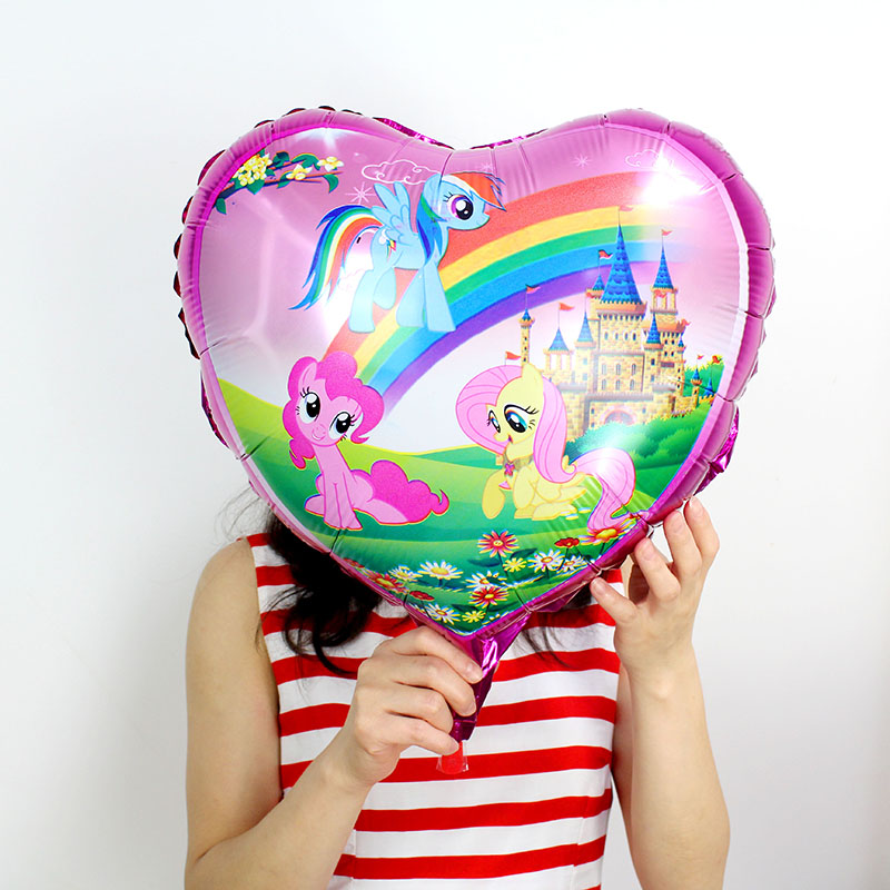 50pcs lot 18 inch heart Shaped Little Horse Foil Balloons mylar ballons Birthday Party Supplies Rainbow horse Helium Balloons in Ballons Accessories from Home Garden