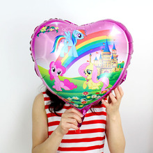 100pcs/lot 18 inch heart Shaped Little Horse Foil Balloons mylar ballons Birthday Party Supplies Rainbow horse Helium