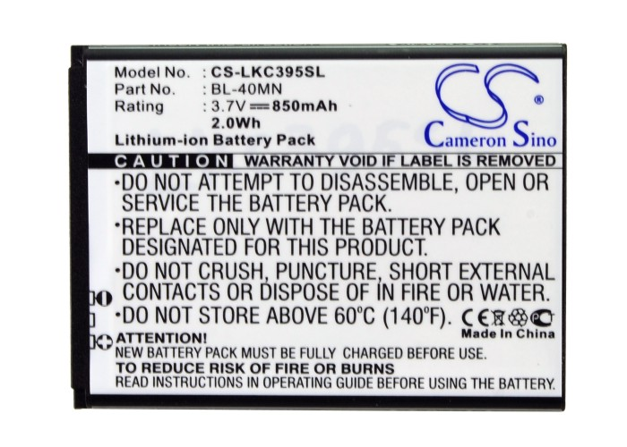 Xpression 2 Cameron Sino High Quality 850mah Battery Bl-40mn For Lg 840g,c395,c395c,c410,lg272w,ln272,un272,vn280 Mobile Phone Batteries Cellphones & Telecommunications