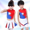 Venda quente Crianças Roupas Das Meninas Dos Meninos De Basquete Crianças Ginástica Aeróbica Cheerleading Roupas Set Crianças Ternos de Performance de Palco