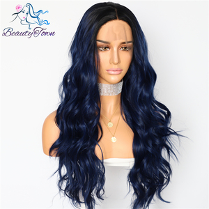 Image 2 - BeautyTown Silk Dark Roots Ombre Blue Natural Wave Women Queen Daily Makeup Wedding Party Present Synthetic Lace Front Wigs