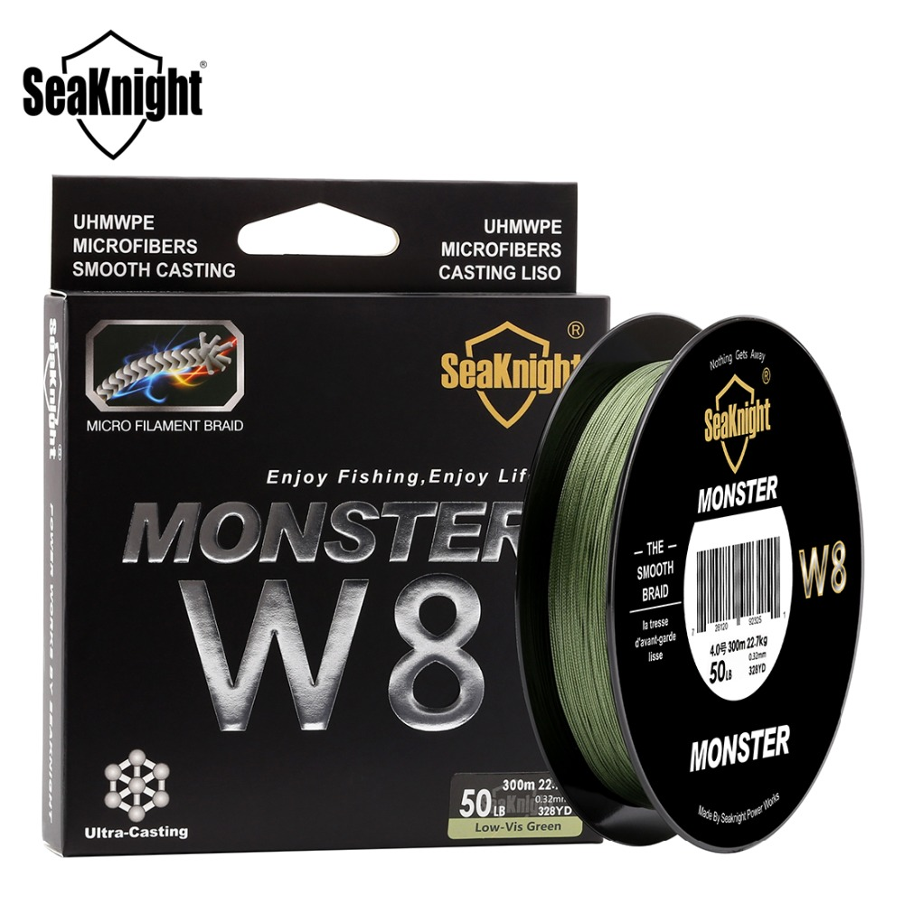 SeaKnight MONSTER W8 300M 500M Braided Fishing Line 8 Strands MultiColor Multifilament Saltwater PE Line 20 30 40 80 100LB(China)