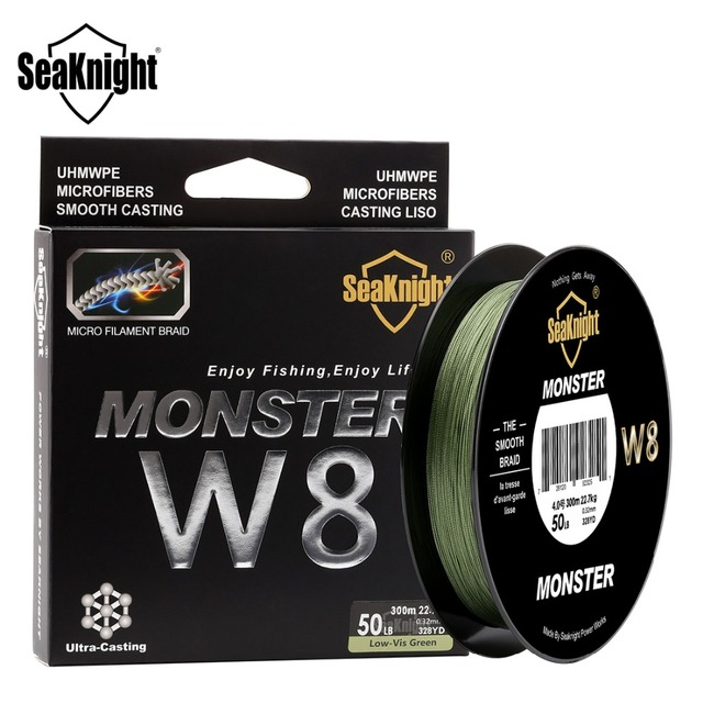 SeaKnight MONSTER W8 150M 300M 500M Braided Fishing Line 8 Strands MultiColor Multifilament Saltwater PE Line 20 30 40 80 100LB