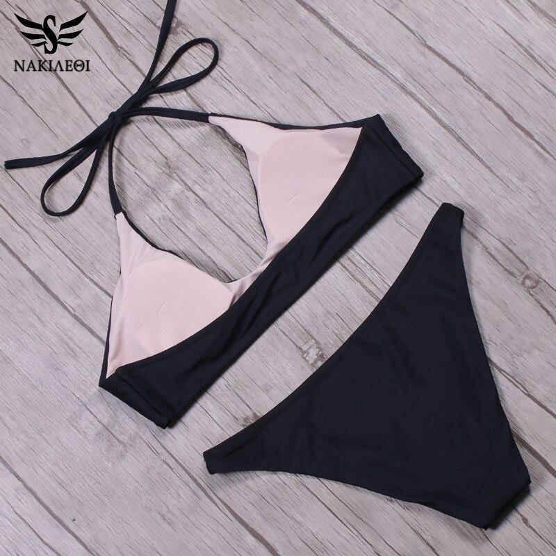 NAKIAEOI 2018 Arrival Sexy Bikinis Women Swimwear Swimsuit Brazilian Bikini Set Halter Top Bathing Suits maillot de bain femme 3