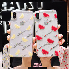 RKQ Cute Funny Transparent Fruit Soft TPU Back Phone Case Cover For Iphone 6 6S 7 8 Plus X XS XR Max