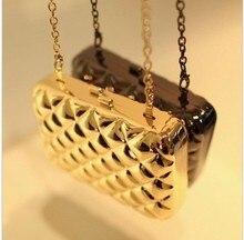 Neue ankunft Luxus Gold gunmetal metallgehäuse rahmen karierten abendtaschen tag handtasche für frauen mit kette freies verschiffen 5 farben
