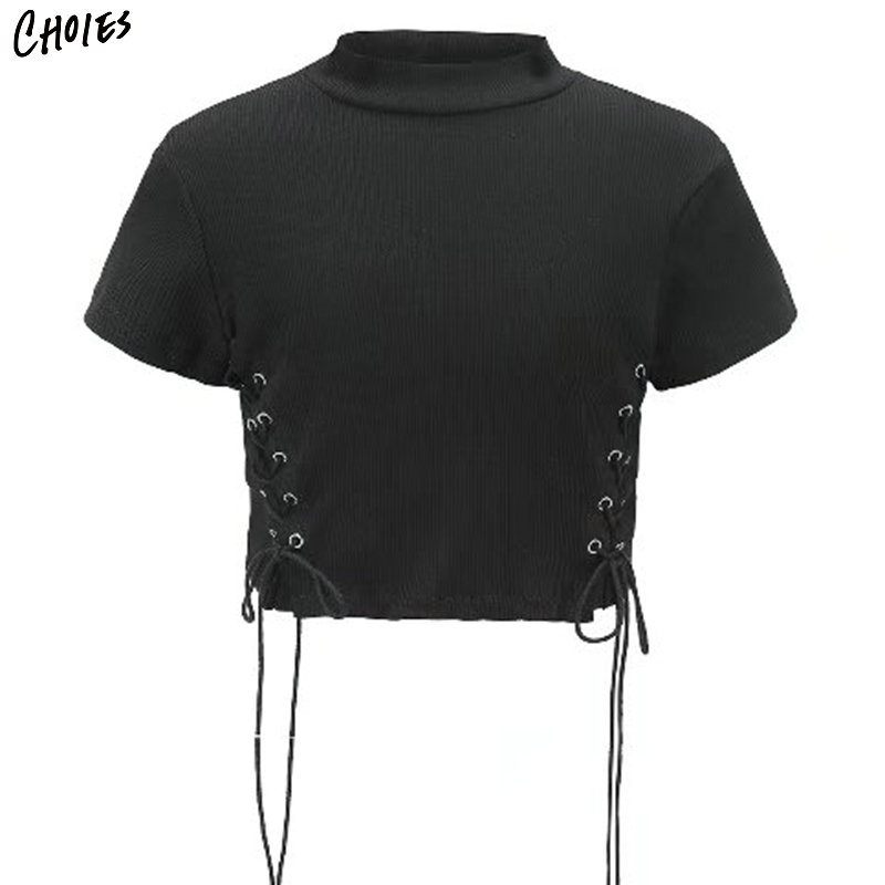 Black Cotton Eyelet Lace Up Side Cropped T Shirt Women White Short Sleeve Stand Neck 2018 Spring Fashion High Street Tee Top