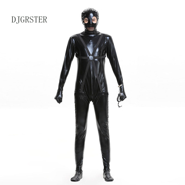 djgrster mens prisoner costume adult halloween costume for men cosplay black pu leather prison school party