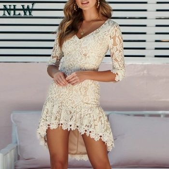 NLW Sexy Hollow out Lace Dress Women 2018 Crochet Flower Embroidery Mini Dress Elegant Party Evening Short Dress Plus Size