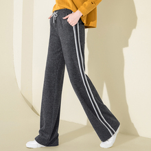 2018 Autumn Winter Corduroy High Waist Wide Leg Pants Palazzo Gray Pants for Women Casual Loose Striped Pants Warm Long Trousers