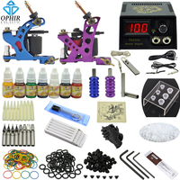 OPHIR 346pcs Professional Tattoo Kit 2 Tattoo Gun Machine with 7Colors Inks Tattoo Grips 50pcs Needles for Body Tattoo Art_TA068