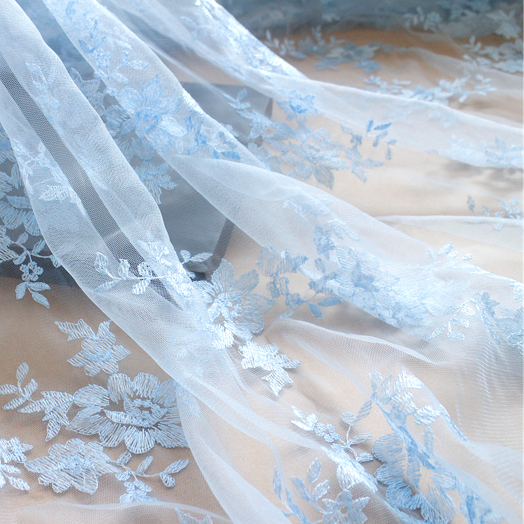 Free Shipping Mesh Embroidered Wedding Lace Fbaric Clothes Accessories Width 130cm 1meter