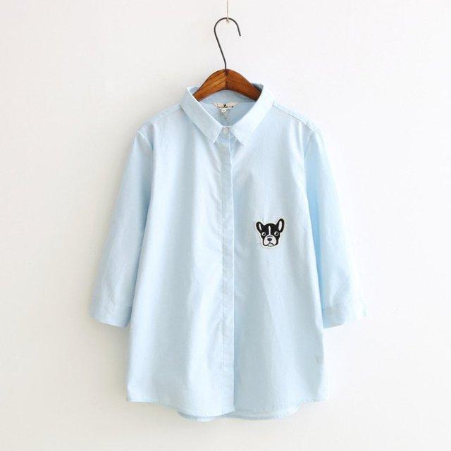 12061b7506823 Otoño Invierno Camisa de Las Mujeres Blusas Color Del Caramelo Perro de Dibujos  Animados Impreso Diseño
