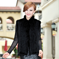 Autumn Winter Women's Genuine Natural Knitted Mink Fur Vest Mandarin Collar Waistcoat Lady Gilet VF0353