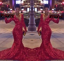 FG29 Custom Made Red Bling Sequined  Long Sleeve Mermaid Prom Dresses 2016 Sexy V Neck Evening Party Dress Vestidos de formatura
