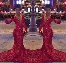 FG29 Nach Maß Red Bling Pailletten Langarm-nixe-abschlussball kleider 2016 Sexy V Ansatz Abend-parteikleid Vestidos de formatura