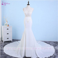 Waulizane Sexy Mermaid Wedding Dresses Simple Style Appliques Court Train Illusion Sleeveless Bridal Gowns For Wedding