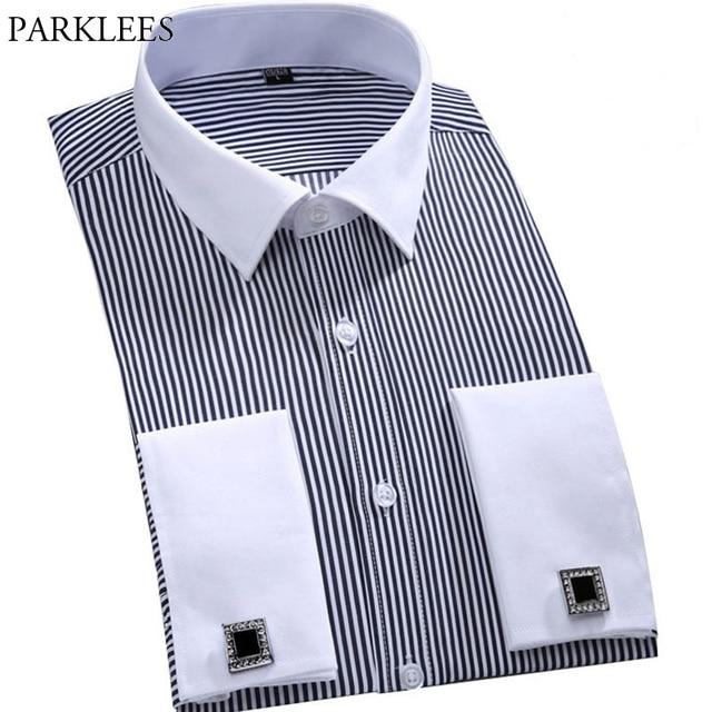 Hombres gemelos franceses camisa 2017 marca nueva camisa de hombre de manga  larga Casual camisas masculinas 56537ec9f2a