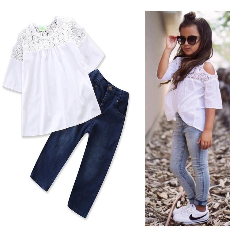 2018 Nova Moda Infantil Meninas Roupas Tops de Renda T-shirt + Denim Calça Jean 2 PCS Criança Crianças Roupas