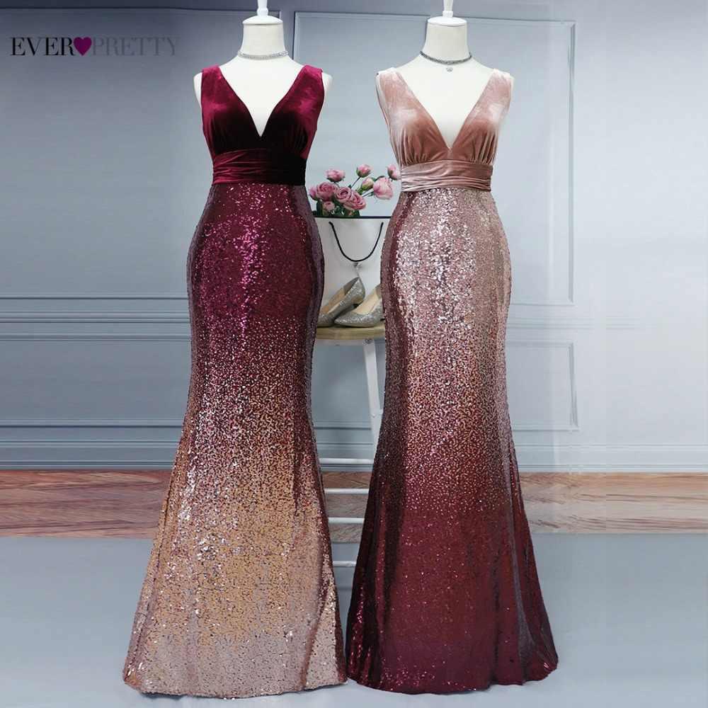 ae962570eeb4f Robe De Soiree Ever Pretty EZ07767 New Sexy V-neck Sleeveless Mermaid  Burgundy Long Evening Dresses Elegant Abendkleider 2019