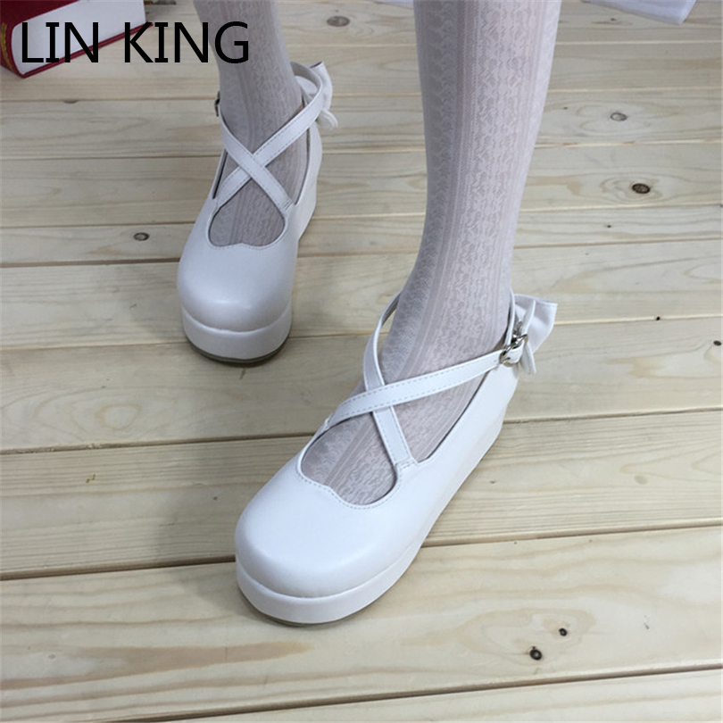 LIN KING Fashion Women Platform Thick Sole Lolita Shoes Pretty Bowtie Cross Bandage Buckle Straps Spring Shoes Sexy Lady Shoes трикотаж lolita angelic pretty