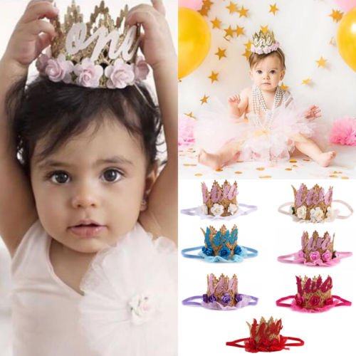 Birthday Crown Flower Tiara Headband for Baby Girls Party Hair Accessories