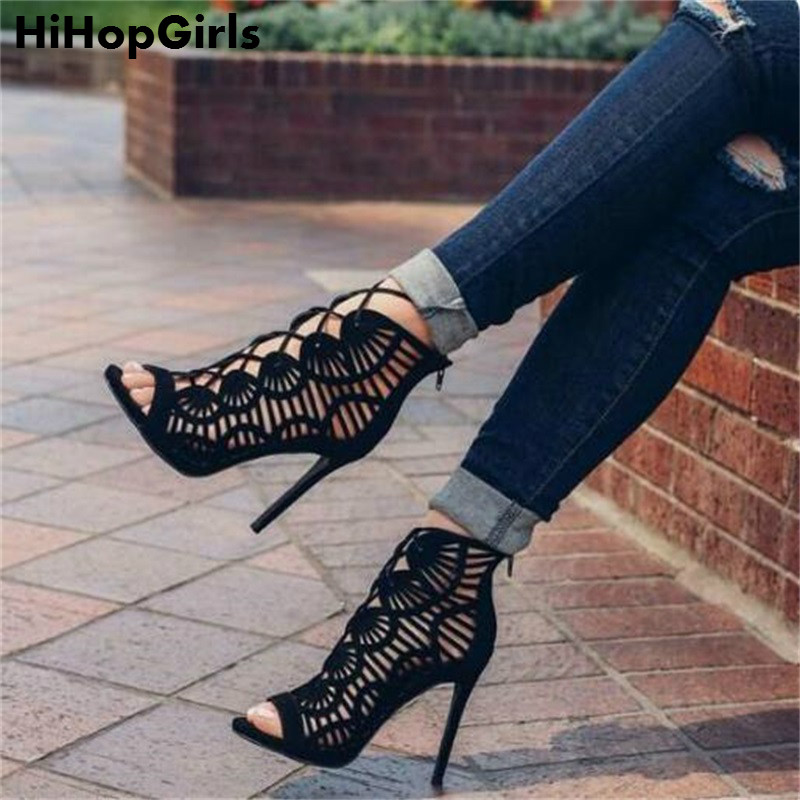 HiHopGirls 2017 Gladiator Roman Summer Sandals Cross-tied Boots Women New Sexy Hollow Peep Toe High Heels Shoes Woman Stiletto new 2017 summer high heels knee high boots sexy peep toe 12cm plus size 11 12 customize shoes for woman gladiator sandals women