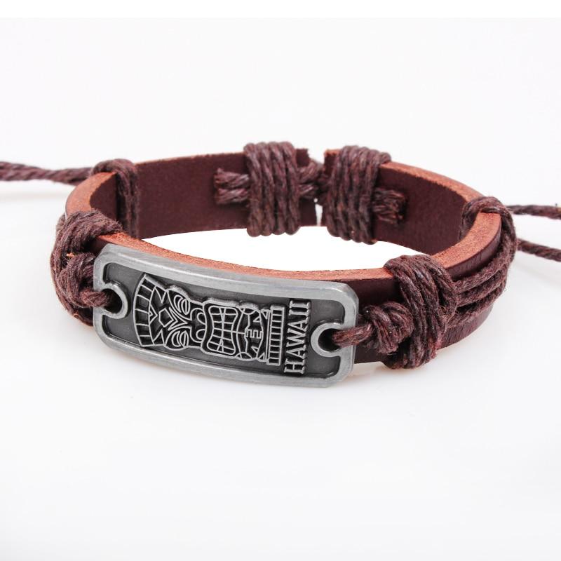 Charming Rectangle Cross Leather Bracelet Fashion Hawaii Totem Alloy Adjule Men Jewelry Best For Friend In Chain Link Bracelets From