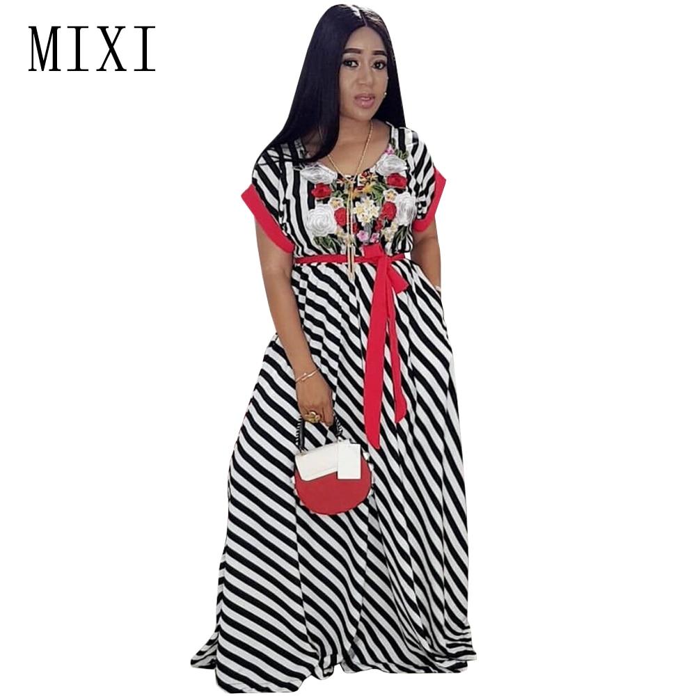 MIXI bordado de flores vestido largo a rayas mujeres o cuello de - Ropa de mujer